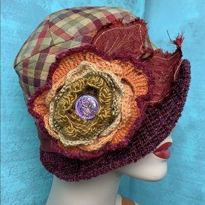 Accessories - Custom cloche hat plum orange red gold